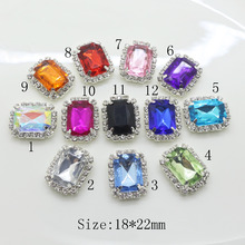 New!10pc 18*22MM Colorful rectangle crystal Rhinestone Buttons Diamond Craft decorate Wedding  invitations Garment  Accessories