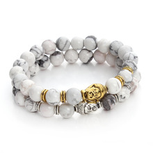 Import Natural Stone Beads Buddha Bracelets Charms For Women and Men Antique Silver Bangle Pulseras Mujer Fine Jewelry F3226(China)