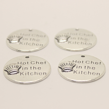 10pcs/ 25mm Chef Charms Antique Silver Tone - Hot Chef in the kitchen charm pendant(China)