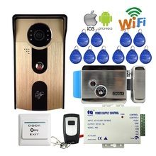 FREE SHIPPPING RFID Access Wireless Wifi Video Door Phone Intercom Outdoor Doorbell Camera for Android IOS Phone + Electric Lock(China)
