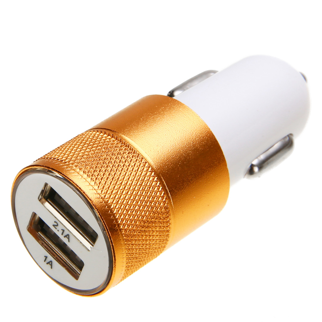 1pc 1.0A 2.1A 12V 24V Mini Dual 2 Port USB Auto Cigarette Lighter 4 Colors Car Charger Adapter for Smart Mobile Cell Phone