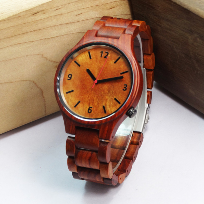 Top Brand Red Ebony Wristwatch For Relogio Masculino With Wooden Watchband Sport  Clock For Gifts <br>
