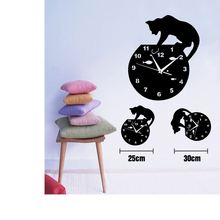 New Tita-Dong Creative Cute Cat Design Wall Clocks Decorations Cartoon Home Office Room Decor T20(China)