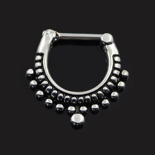 Septum clicker nose piercing jewelry 316L Black Septum Clicker Hinged Beaded Nose Ring Septum Piercing Jewelry faux septum rings