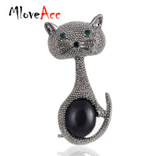 MloveAcc Vintage Green Eyes Cats Brooch Corsage Black Opals Animal Brooches for Women Gifts Small Hijab Pins bijouterie(China)