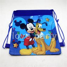 1pcs/lot Mickey Mouse Mochila Happy Birthday Party Decoration Baby Shower Blue Backpack Gift bag Kids  Drawstring Bags Supplies