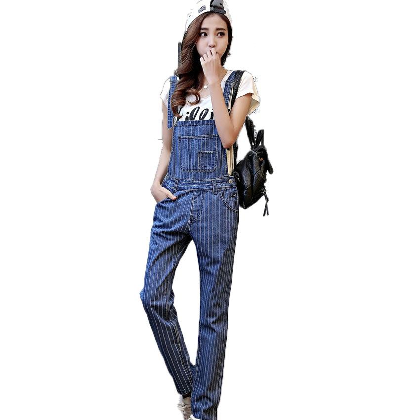 2017 Woman Striped Denim Overalls Fashion Girls Jeans Suspender Trousers Lady Casual Straight Jeans Womens Casual Pant Spring Îäåæäà è àêñåññóàðû<br><br>