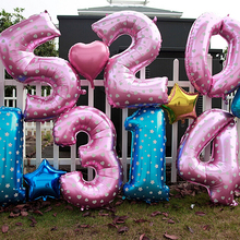 1Pc Digit Number Balloons Blue Pink Available Star Heart Dot Helium Foil Party Decoration 16inch