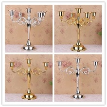 Visual Touch Metal Candle Holder Stand Wedding Event Party Candelabra Romantic Dinner Centerpiece Mirror Chrome