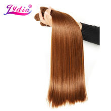 Lydia Synthetic Hair Extension 3Pieces/lot Straight Yaki Weaving 10-26 Inch Pure Color 30# 100% Futura Hair Bundles(China)
