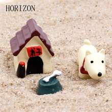 3PCS / Set Cute Resin Dog World Ornaments Accessory Resin Craft Figurines & Miniatures for Home Garden Decoration