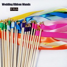50pcs/lot Wedding Ribbon Stick Wands Magic Colorful Ribbon Wedding Twirling Streamers with Bells Props Wedding Decor