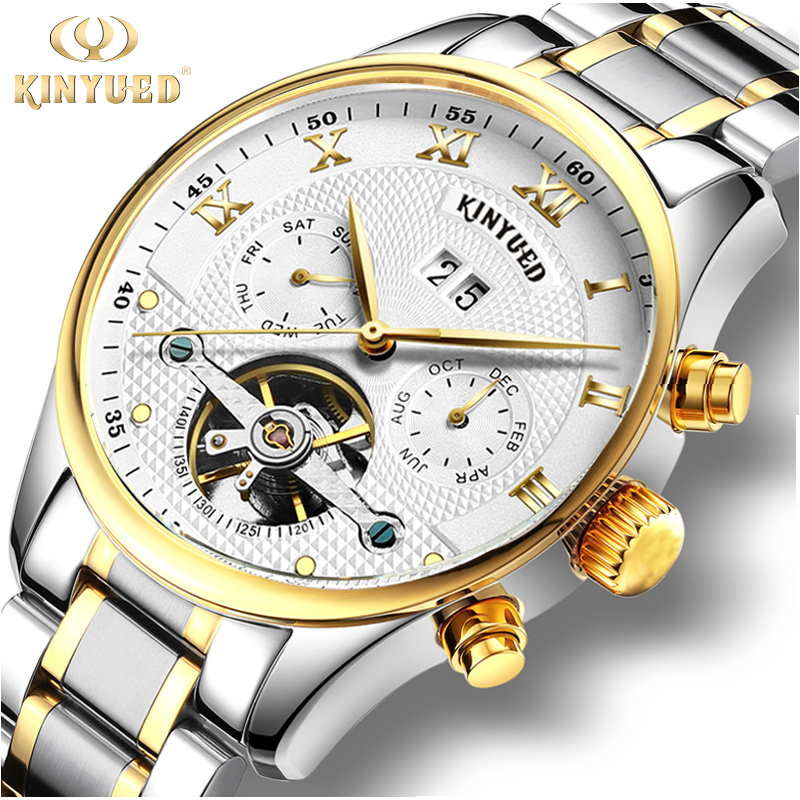 KINYUED Luxury Brand Skeleton Watch Men Mechanical Automatic Calendar Watches Stainless Steel Strap Tourbillon Gold Wristwatches<br>