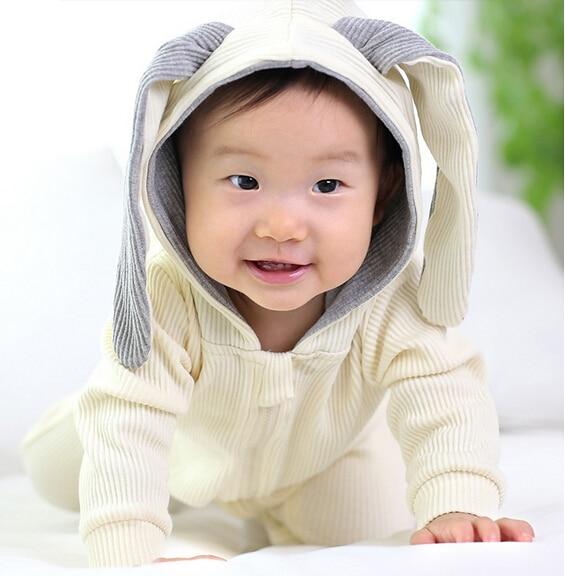 2016Winter Warm Newborn Baby Girl Boy Rabbit 3D Ear Zipper Hooded Romper Jumpsuit Outfits Clothes<br><br>Aliexpress