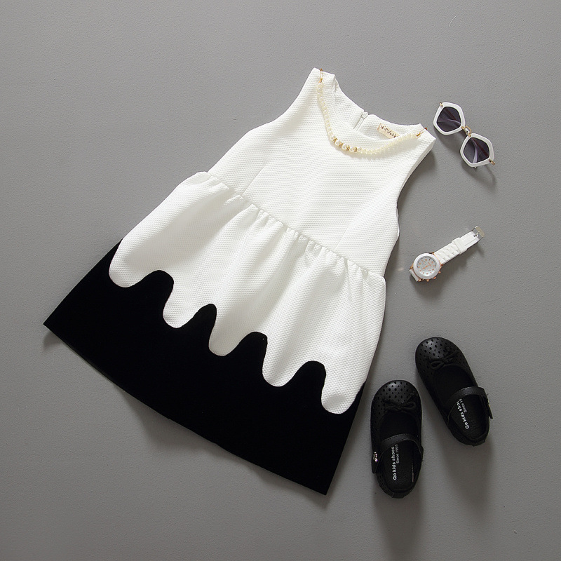 childrens clothing classic black and white small sweet temperament pearl necklace vest dress for girls<br><br>Aliexpress