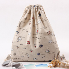YILE Brand New Cotton Linen Draw String Backpack Travelling Bag Book Bag Boat Clouds Rudder B247
