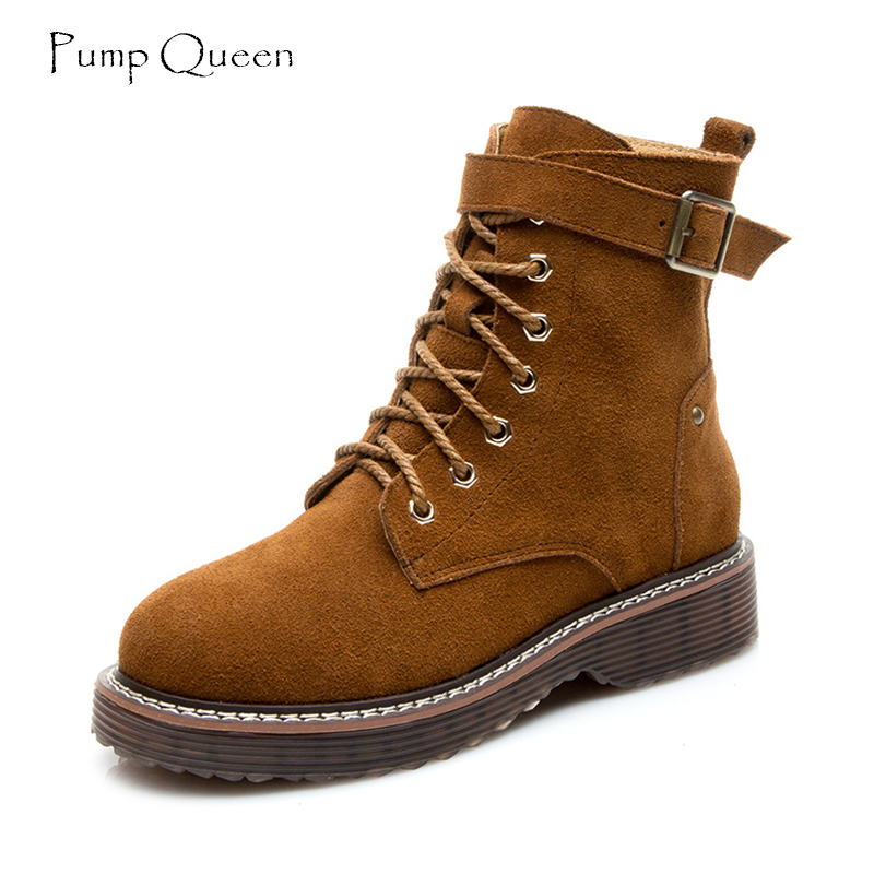 PumpQueen Height Increasing Martin Boots for Women Fashion Womens Boots Lace Up Black Brown High Shoes Woman 2018 Spring Size39<br>