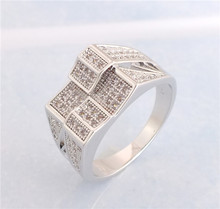 SHUANGR Fashion Vintage Silver Color Double Ring Fine Wedding Engagement Finger Jewelry For Women fMen emme(China)