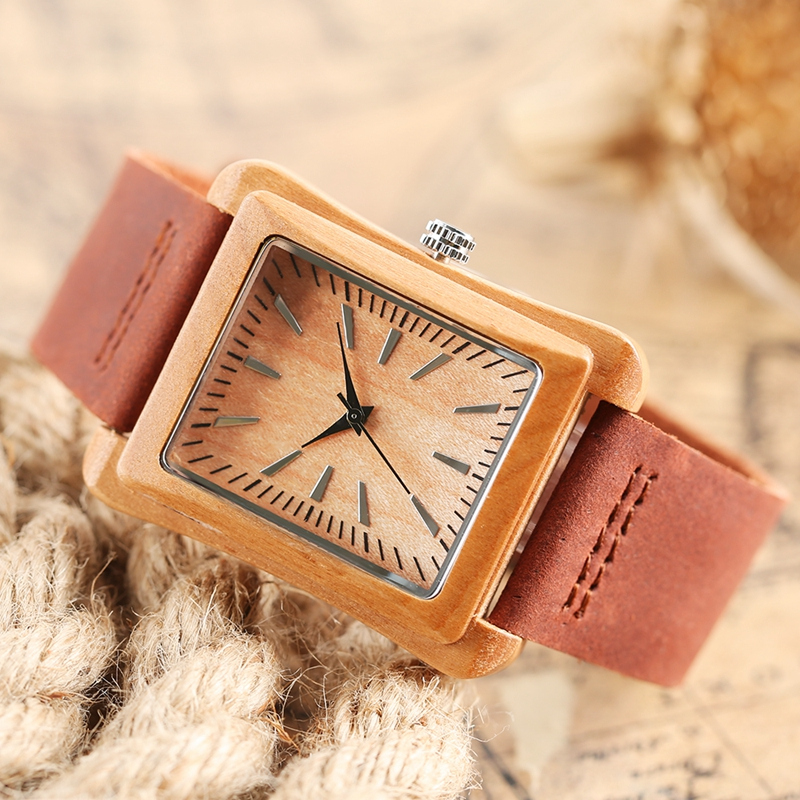 Creative Rectangle Dial Wood Watch Natural Handmade Light Bamboo Fashion Men Women Casual Quartz Wristwatch Genuine Leather Gift 12