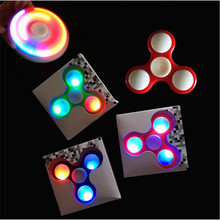 Glowing abs spinner hand three leaf LED fingertips gyro spinner toys anti stress toys for autism and ADHD for child adults(China)