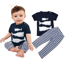 Clearance Sale 9M Summer Baby Boys Clothes Cotton Infant Outfits Shark T Shirt And Striped Pants toddler Baby Boy Clothes Set