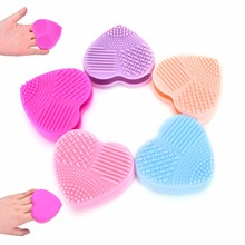 1PC Kawaii Heart Shape Face Clean Make up Brushes Wash Brush Silica Glove Scrubber Board Cosmetic Cleaning Tools 5 Colors(China)