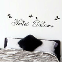 hot sell sweet dream quotes wall stickers home decoration living bedroom diy decals mural art printing poster peel & stick black