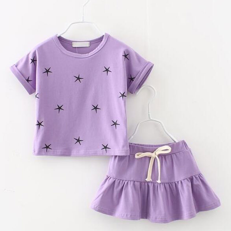 Fashion girls clothing set star print short sleeve T-shirt+skirt cotton girls clothes pink lavender summer clothes for girls(China (Mainland))