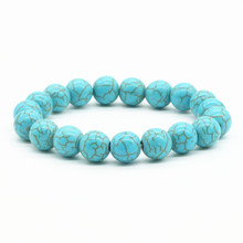 New Arrival Blue White Green Red Natural Turquoises Stone Charm 10mm Strand Beads Women Bracelets Men Homme Femme Jewelry(China)