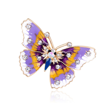 New Fashion enamel brooch pins crystal jewelry Purple Dream Butterfly animal brooches for women christmas gifts
