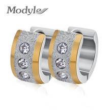Modyle 2017 New Fashion Brand Jewelry Silver&Gold Color 316L Stainless Steel Zircon Crystal Stud Earrings for Women(China)