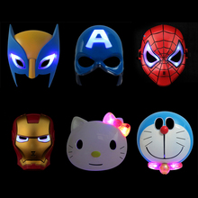 LED Light Super Hero Mask The Avengers Wolverine Spiderman Captain America Iron Man Mask Party Cosplay Halloween Kids Toy(China)