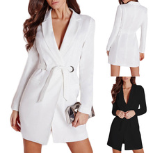 Fashion Ladies Slim Belted Deep V Neck Suit Dress Quality Long Sleeve Suit jacket Womens Blazer For Work White Black Blazers