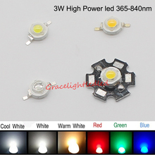 10pcs 3W watts 45mil High Power SMD LED Chip Light Beads Warm White  Cool White 10000K -30000k Red Blue IR  With PCB/ no PCB