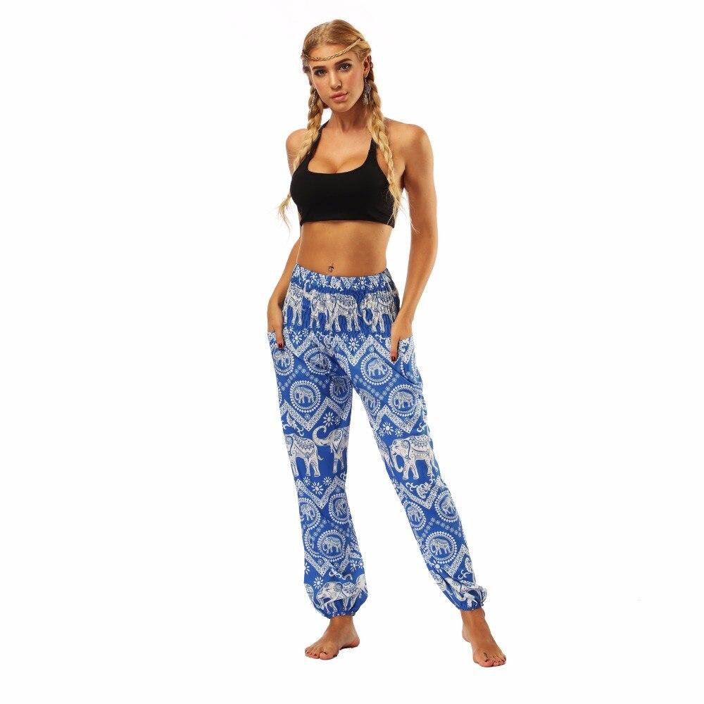 TL009- blue and white elephant wide leg loose yoga pant leggings (5)