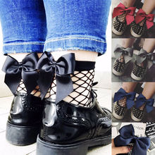 Bowknot Women Ruffle Fishnet Socks Ankle High Blue Red Black Socks Mesh Lace Fish Net Short Socks Fashion