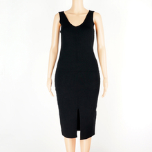Summer Ladies Sexy Stretch Bodycon Dress Women Sleeveless V Neck Front  Slitted Slim Knitted Dresses Casual 74c922d408d7