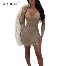 Buy Articat Deep V Neck Mesh Rhinestone Sexy Party Dress Women Long Sleeve See Bodycon Mini Dress Sexy Sheath Dress Vestidos for $15.99 in AliExpress store