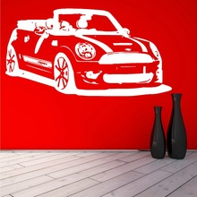 Removable Mini Cooper Convertible Car Living Room Vinyl Wall Stickers Mural Vinilos Decoration Vintage Car Wallpaper DIY F-198