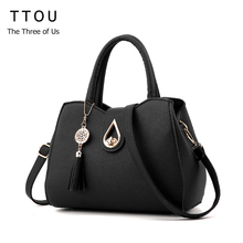 TTOU Women Tassel Pendant Handbag Water Droplets Sequined Messenger Bag High Capacity Shell Shoulder Bag Female(China)
