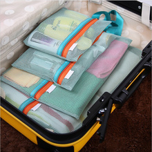 4pcs/set Thicken Travel Storage Bag Portable Mesh Bag Case Toiletry Clothes Underwear Hanging Storage Bags Organizer Pouch(China)