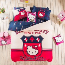 Hello Kitty 3D 100% Cotton Printed Bedding Set Include Duvet Cover Linen Pillowcase Double Single Bed For Kids Baby as Gift