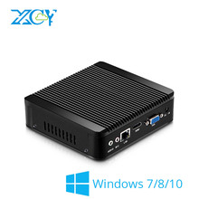 XCY Mini PC Celeron N2830 Windows 7/8/10 HTPC Thin Client Nettop HDMI VGA WiFi Micro Desktop NUC Fanless Noiseless Full Aluminum(China)