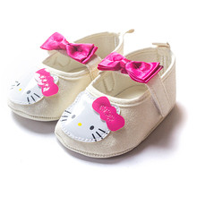 Baby Princess Shoes Cartoon Hello Kitty Lovely Toddler Infant Baby Girl Mary Jane Shoes Bow knot Soft Soled Walking Shoes