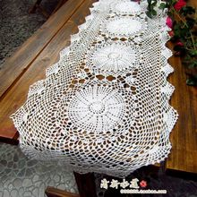 Russian design fashion handmade hook needle table runner 100% cotton crochet table cloth oval white for home decoraiton(China)