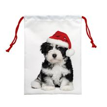 4pcs Cute dog with Christmas Red hat Printed Custom Cartoon Drawstring Bag Foldable Cloth Shoes Polyester Travel Storage Bag(China)