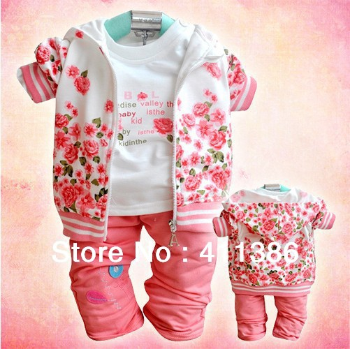 SY004  baby girl clothes for autumn childrens clothing flower cotton suit infant coat+shirt+pants trouses garment kids clothes<br><br>Aliexpress
