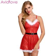 Buy Avidlove Women Christmas Sexy Lingerie Sexy Underwear Transparent Babydoll Erotic Costumes Lace Trim Backless Chemise Belt