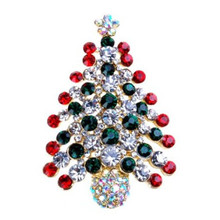 Bling-World New Arrival Fashion Man Women Multi-Colored Rhinestone Crystal Christmas Tree Brooch Pin Delicate Jewelry Gift Oct18(China)