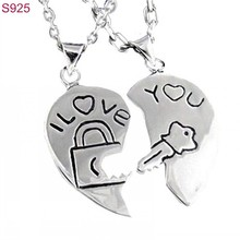 Women Men Real Pure Genuine 925 Sterling Silver Couple Pendants Fine Jewelry Lovers Heart Key Fashion Schmuck No Necklace